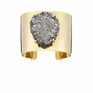 JANIS SAVITT High Polished Gold and Pyrite Cuff